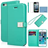 iphone 5 case,iphone 5s case,by Ailun,PU leather case,credit card holder,clip Cover Skin[Green] with screen protect and styli pen