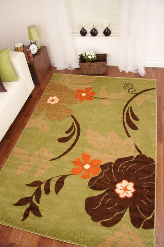 Toledo Green, Chocolate Brown  &  Terracotta Orange Floral Rugs 9015 160x230cm (5'3