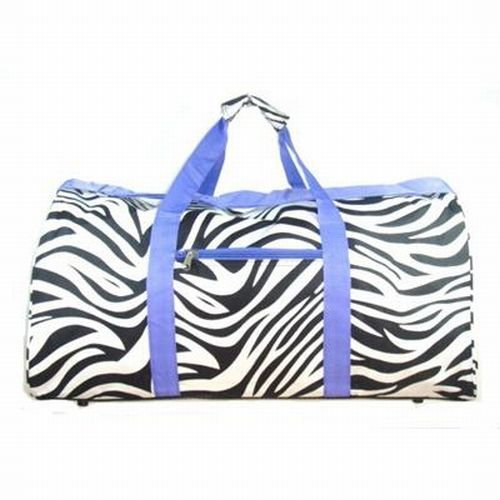 Zebra Purple Trim Duffel Gym Bag 22