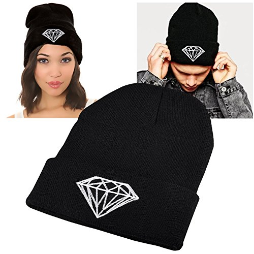 Insten Unisex Knit Hip-hop Beanie Hat, Black with Diamond (Ski Company Stickers compare prices)