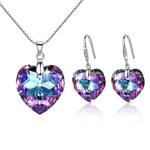 GoSparking Mystic Topaz cristallo del cuore Sterling Silver Earrings & Pendant impostato con cristallo austriaco per le donne