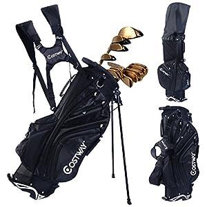 Hyper Lite Golf Stand Bag w/Shoulder Strap Rain Cover Blk & White 6 Way Divider