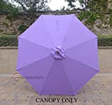 Replacement Umbrella Canopy for 9ft 8 Ribs Lavender (Canopy Only)