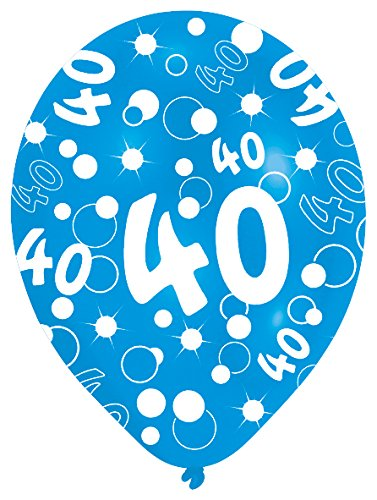27.5 cm 40. Geburtstag, 6 Luftballons, Blau