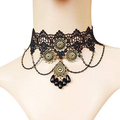 time-pawnshop-gothic-retro-sunflower-drop-shape-black-lace-elegant-choker-necklace