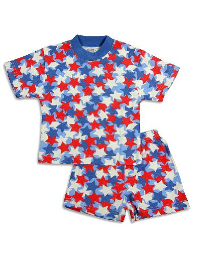 Sara'S Prints - Little Boys Short Sleeve Star Shortie Pajamas, Red, White, Blue 24249-2 front-653845