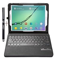 Samsung Galaxy Tab S2 9.7 Keyboard case - IVSO®Ultra-Thin High Quality DETACHABLE Bluetooth Keyboard Stand Case / Cover for Samsung Galaxy Tab S2 9.7 Tablet -With Free Stylus Pen (Black)