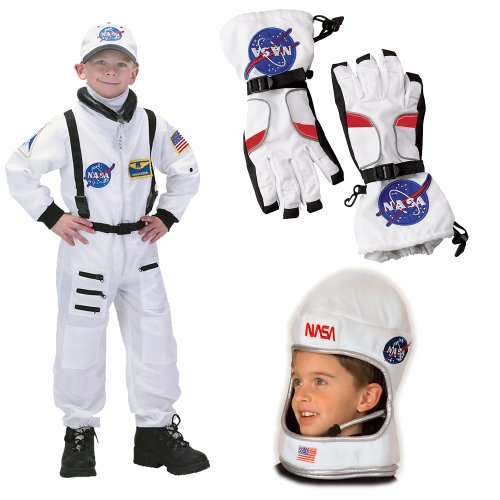 NASA Jr. Astronaut Suit White, Child Costume with Gloves and Helmet, Small (4-6)