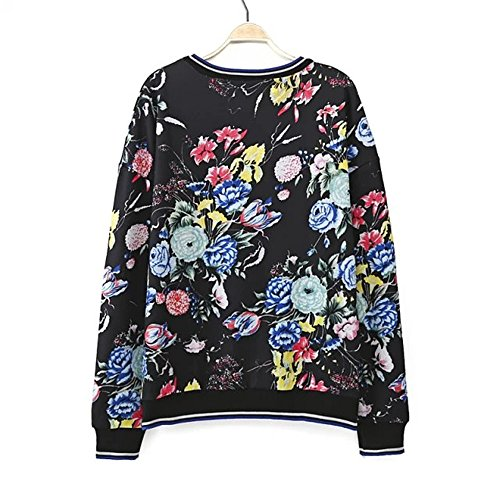 Omine Women's Boat Neck Stripe Trim Floral Print Loose Pullover Sweat Top