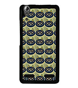 Fuson Premium 2D Back Case Cover Owl patterns With Black Background Degined For Lenovo A6000 Plus