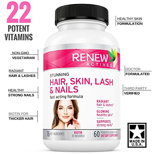 FLASH SALE! Hair Skin Lash & Nails Supplement! Promotes Longer Hair growth, Radiant Skin & Stronger Thicker Nails! 22 Potent Vitamins Assists Anti-Aging Skin. Stunning Results in 30 days - Guaranteed!