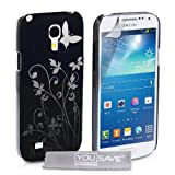 Yousave Accessories Floral Butterfly Hard Cover Case for Samsung Galaxy S4 Mini - Blackby Yousave Accessories