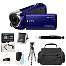 Sony HDR-CX240 HDRCX240B HDRCX240/B Full HD Handycam Camcorder (Blue) + Sony 16GB Class 10 Micro SDHC R40 Memory Card + Vivitar Coco Series Small Gadget Camera Bag + Infolithium Rechargeable Battery + Accessory Kit