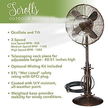 Indoor / Outdoor Misting Floor Standing Pedestal 18 Fan - Gentle Misting Action Keeps You Cool All Summer Long (Scrolls)