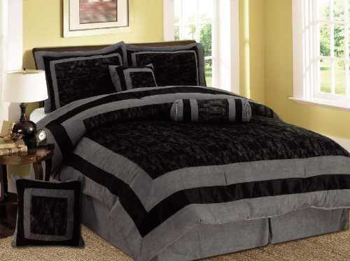 Comforter Sets: 7 Pieces Black and Grey Micro Suede ...