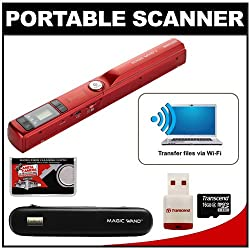 VuPoint Magic Wand II Portable Photo & Document Scanner with Wi-Fi (Red) with 16GB Card + Carrying Case + Accessory Kit