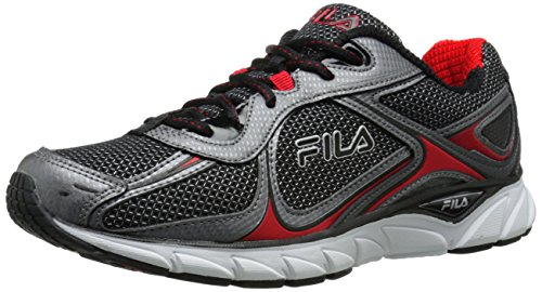 Fila Men's Quadrix Running Shoe, Black/Dark Silver/Fila Red, 11 M US