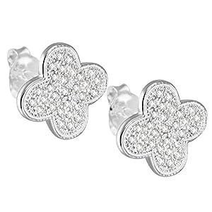Vinani Boucles d'Oreilles Clous - Fleur petit - lustré - Zirconia blanc - Argent 925 - ODIK