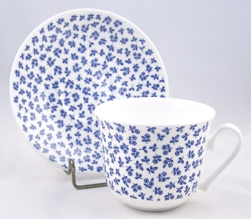 Fine English Bone China Breakfast Cup And Saucer - Petite Rose Blue Chintz - Roy Kirkham, England