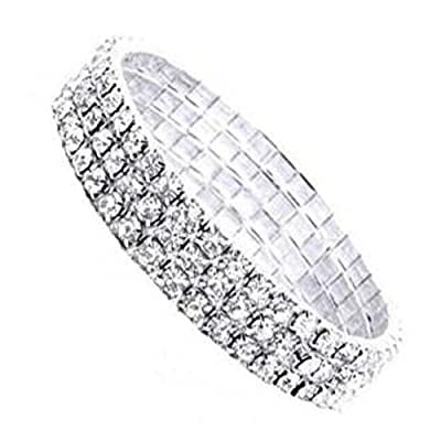 Nambeads 3 ROW DIAMANTE RHINESTONE CRYSTAL STRETCH BRACELET