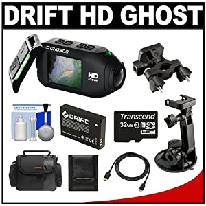 Drift Innovation HD Ghost Wi-Fi Waterproof Digital Video Action Camera Camcorder with 32GB Card + Battery + Suction Cup & Handlebar Mount + Case + Accessory Kit