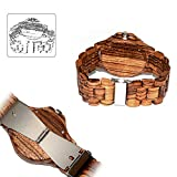 Greatwell Handcrafted Wooden Watches Zebra Wood Watch with Adjustable Wood Band & Date for Festival Gift