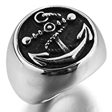 buy Men'S Large Stainless Steel Ring Silver Black Anchor Nautical Biker Size13