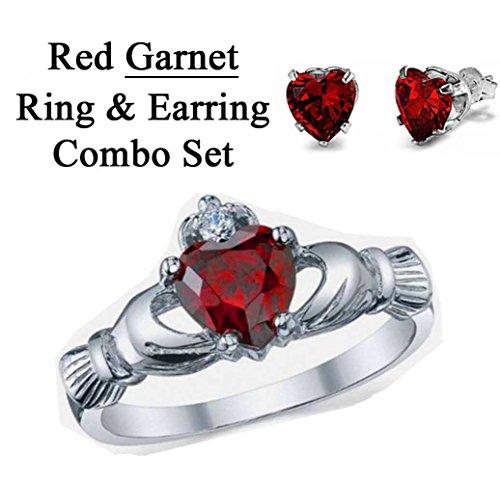 6Mm 2Ctw Sterling Silver January Red Garnet Heart Royal Claddagh Irish Ring & Earring Stud Set Sizes 3-12 (7.5)