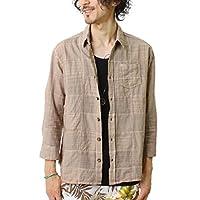 (grn) ジーアールエヌ インド綿製品染め パッチワーク 7分袖シャツ [grn213042d]