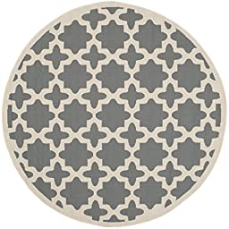 Safavieh Courtyard Collection CY6913-246 Anthracite and Beige Indoor/ Outdoor Round Area Rug, 5 feet 3 inches in Diameter (5\'3\