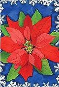 Glitter Poinsettia Christmas Garden Flag Holiday Yard Banner 12.5