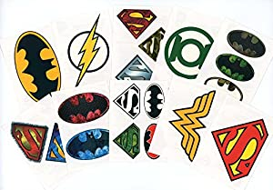 DC Comics Logo Temporary Tattoos (Set of 10 Sheets)(Includes Superman Wonder Woman, Batman, Green Lantern, and The Flash)
