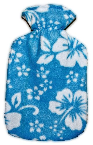 Warm Tradition Sky Blue Orchid Fleece Covered Hot Water Bottle- Bottle Made In Germany, Cover Made In Usa