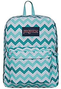 JanSport Superbreak Backpack (Aqua Dash Zou Bisou)