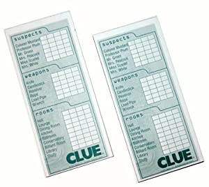 Clue Game Sheets 2 Classic Clue Replacement