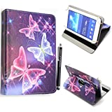 Universal Premium Quality PU Leather 360 Stand Case Cover Fits All Android Tablets devices + Stylus (UNIVERSAL 9.0'' INCH, Blue Butterfly 360)