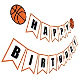 Silvima Basketball Birthday Banner | Basketball Theme Happy Bday Bunting Sign, Basketball Party Decoration (Color: Basketball Birthday Banner)