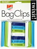 Twixit! Linden Sweden Bag Clips, White/Lime/Turquoise/Cobalt, Set of 6 Large and 7 Small
