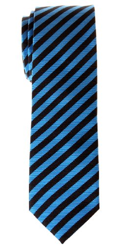 Retreez Stripe Woven Skinny Tie - Blue and Black Stripe (Mens Retreez Skinny Ties compare prices)