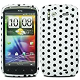 JJOnline Polks Dots - Silicone Gel Phone Case Cover For HTC Sensation G14 / White