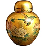 "Best Quality Gift Idea for Her - 13"" Chinese Ceramic Porcelain Gold Leaf Spice Ginger Jar Urn"