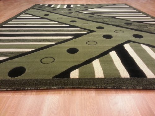 E526 Contemporary Modern Transitional Green 5x8 Actual Size 5'3x7'2 Rug