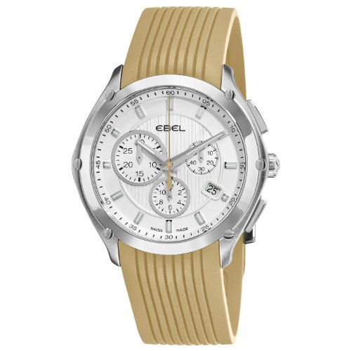 Ebel Men's 9503Q51/1633565 Classic Sport Silver Dial and Sand Rubber Strap Watch