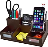 Victor® Wood Desk Organizer with Smart Phone Holder, Mocha Brown