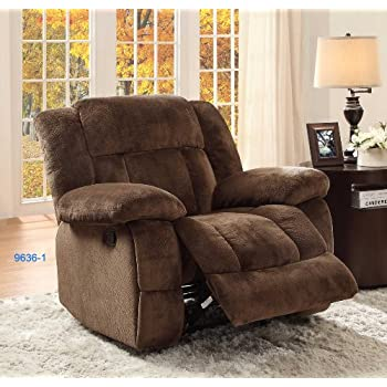 Homelegance 9636-2 Laurelton Textured Plush Microfiber Dual Glider Recliner Love Seat with Console, Chocolate Brown