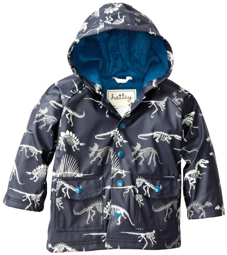 Hatley Little Boys' Rain Coat-Dino Bones, Blue, 7 front-872203