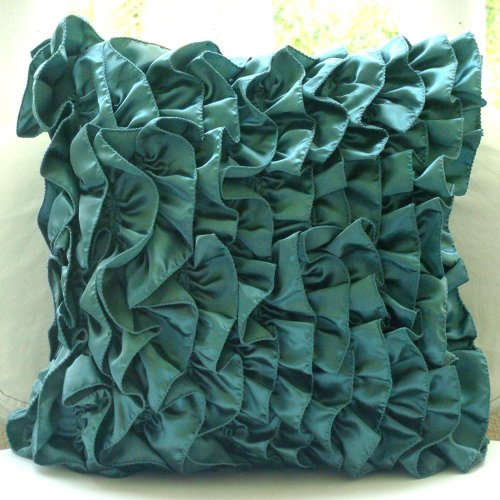 Vintage Teals - 18X18 Inches Square Decorative Throw Teal Blue Satin Pillow Covers With Satin Ruffles front-939444