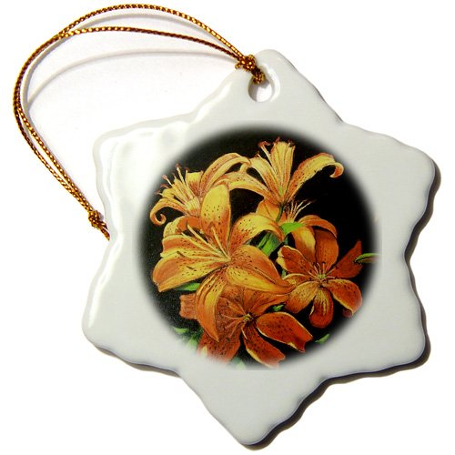 Gladys Bacon Flower - Bright Orange speckled Tiger Lilies floating on black. - Ornaments - 3 inch Snowflake Porcelain Ornament (orn_61499_1)