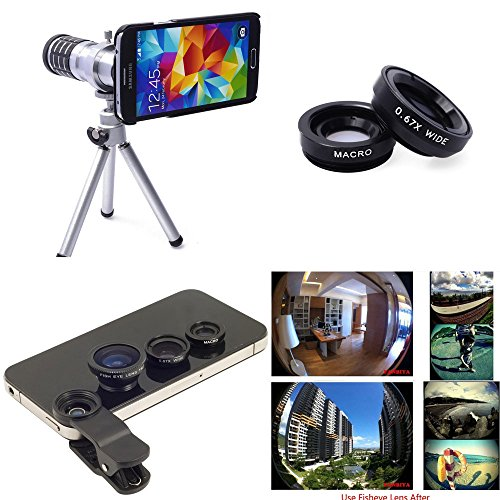 Xcsource® 4In1 Lens Telephoto Lens Kit Phone Camera Zoom Lens 12X + Tripod + Case Cover Pouch + Fisheye Lens + Wide Angle + Micro Lens For Samsung Galaxy S5 Sv Gt-I9600 Dc457