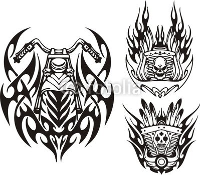 "Wallmonkeys Peel and Stick Wall Decals - Skull, Demon and Motorcycle Wheel. Tribal Bikes. - 24""W x 21""H Removable Graphic"
